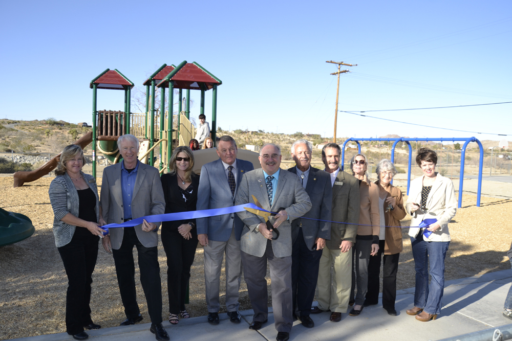Government officials at grand opening of a park